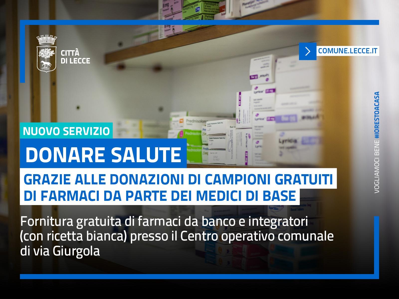Donare salute: un servizio rivolto ai cittadini che, pur avendone necessità, non possono provvedere autonomamente all'acquisto di farmaci