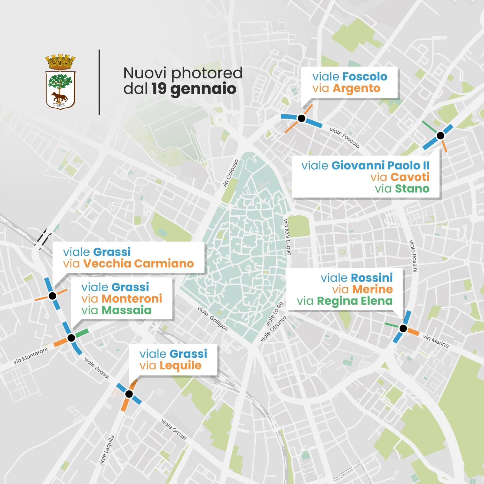 Mappa Photored attivi a Lecce