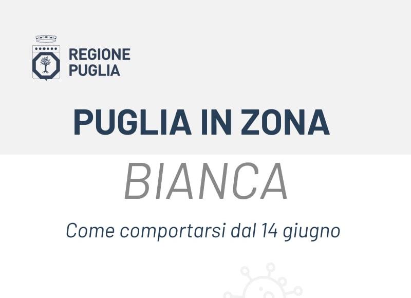 Puglia in zona bianca da lunedì 14 giugno