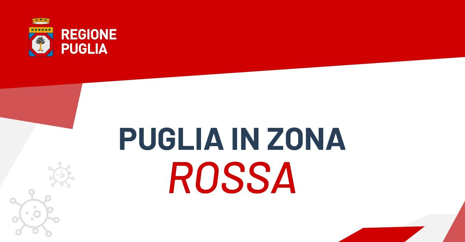 Puglia in zona rossa da lunedì 15 marzo